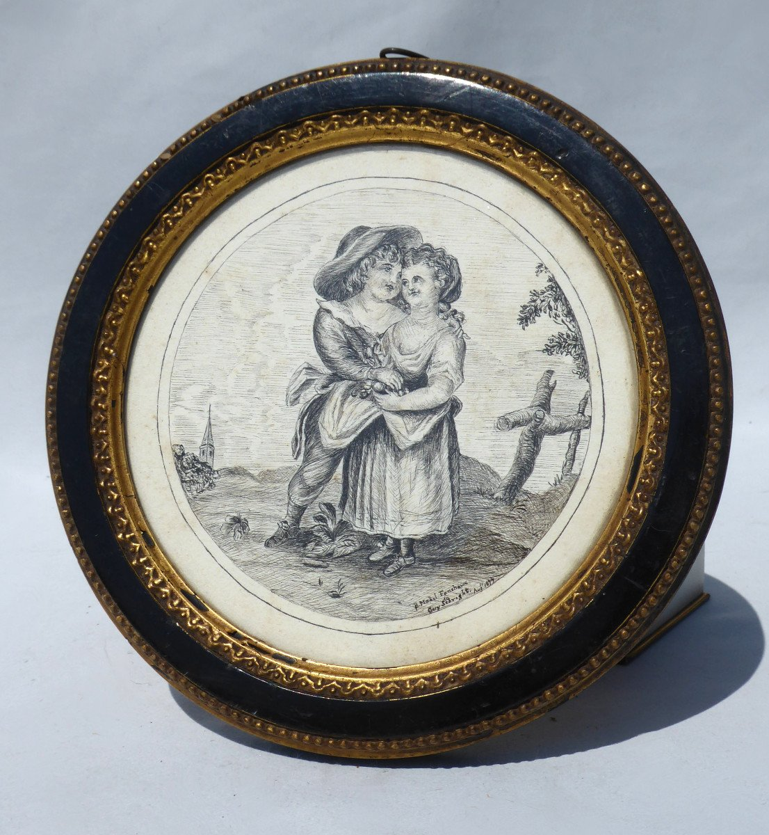 Chinese Ink Drawing, Napoleon III Period, Romantic Scene Nineteenth Frame Couple Of Children