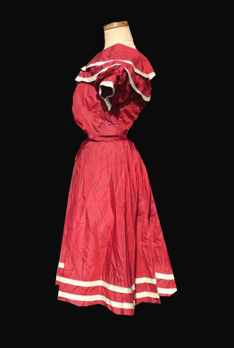 Costume De Bain De Femme , Tenue De Sport Fin XIXe , Soie Rouge , Vêtement Epoque 1900 Mode-photo-3