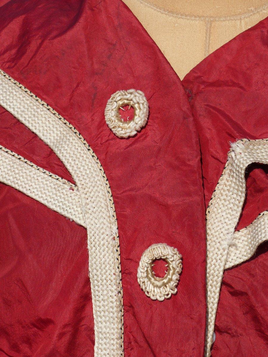 Costume De Bain De Femme , Tenue De Sport Fin XIXe , Soie Rouge , Vêtement Epoque 1900 Mode-photo-1