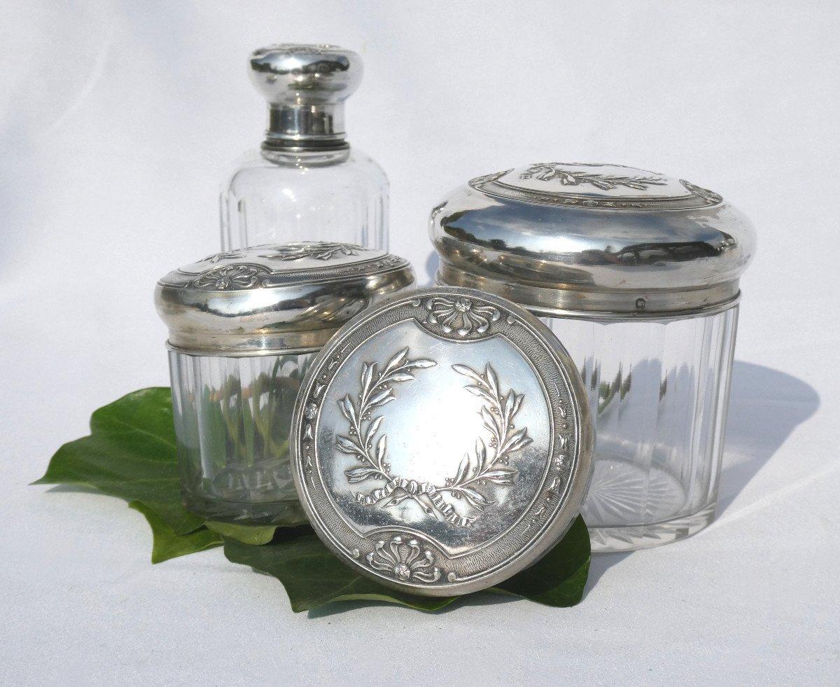 Garniture De Toilette En Argent Massif & Cristal , Flacons à Parfum XIX Style Empire Couronne -photo-3