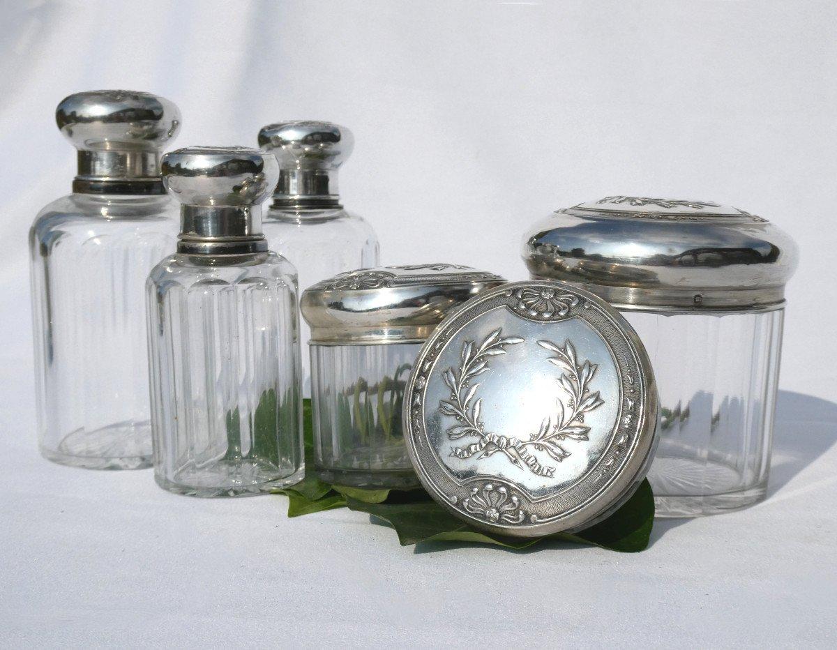 Garniture De Toilette En Argent Massif & Cristal , Flacons à Parfum XIX Style Empire Couronne -photo-4