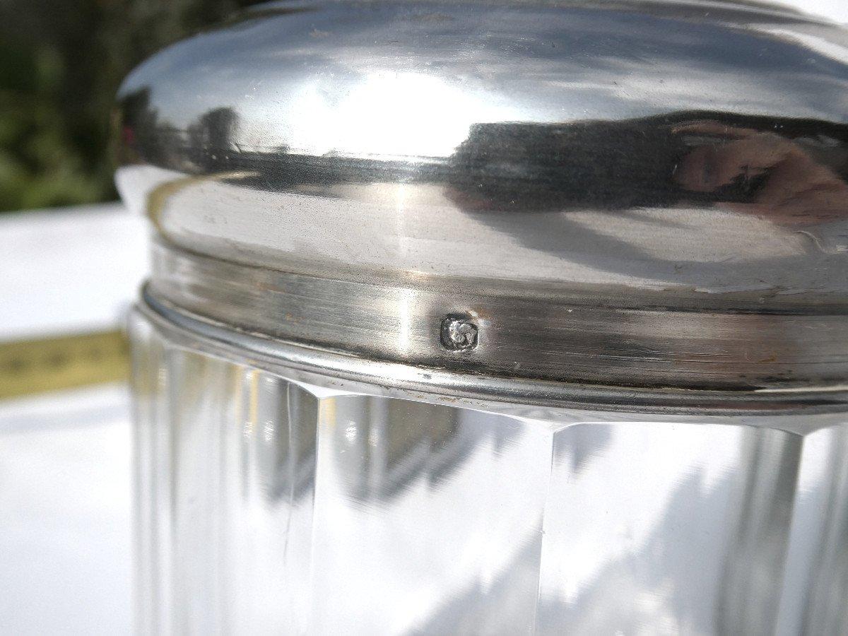 Garniture De Toilette En Argent Massif & Cristal , Flacons à Parfum XIX Style Empire Couronne -photo-5