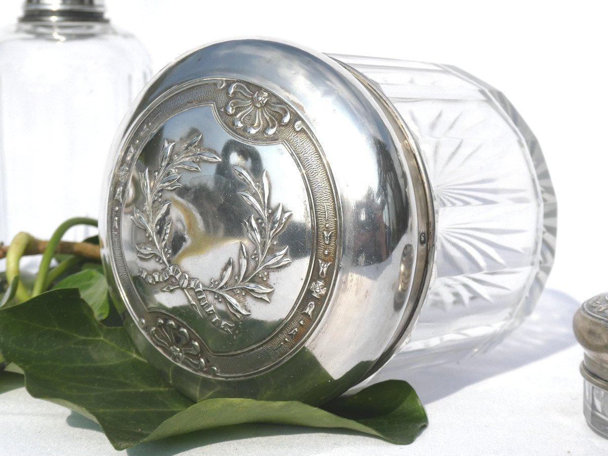 Garniture De Toilette En Argent Massif & Cristal , Flacons à Parfum XIX Style Empire Couronne -photo-7