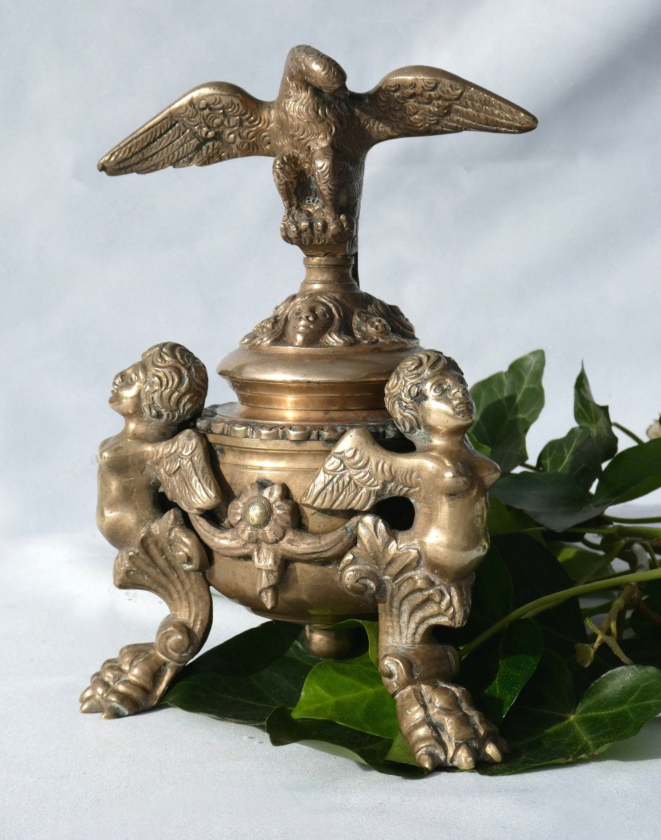 Encrier De Bureau En Bronze , époque Napoléon III , Chimeres & Phenix Ecritoire XIXe-photo-2