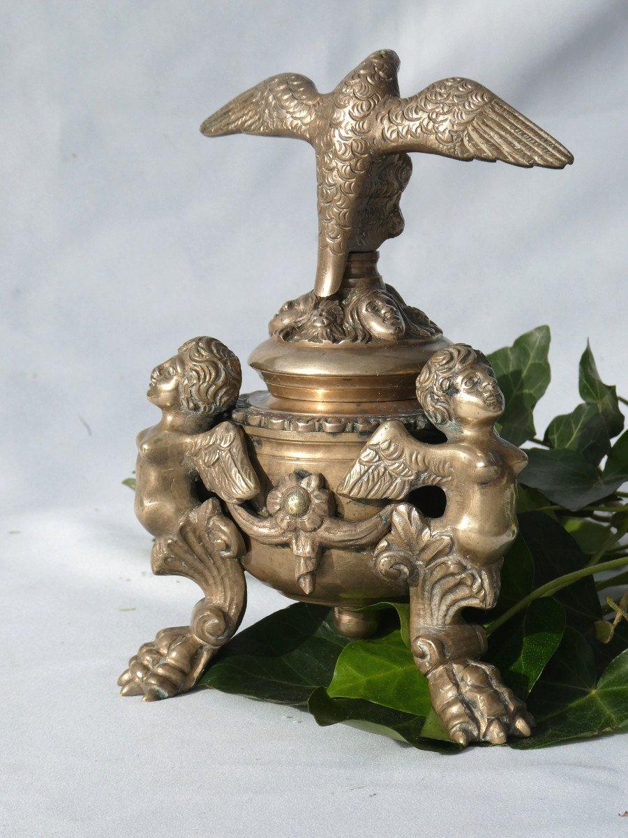Encrier De Bureau En Bronze , époque Napoléon III , Chimeres & Phenix Ecritoire XIXe-photo-3