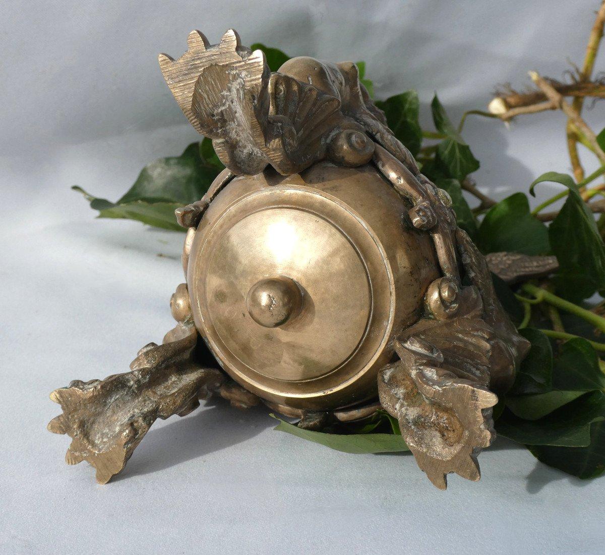 Encrier De Bureau En Bronze , époque Napoléon III , Chimeres & Phenix Ecritoire XIXe-photo-6