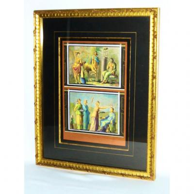 Gravure En Couleur XIXe , Fresque Antique , Centaure . Souvenir Du Grand Tour. Pompei