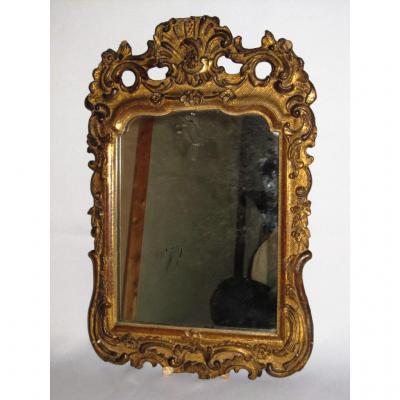 Miroir d'Entre Deux , En Bois Et Stuc Doré , Style Regence XVIIIe Epoque XIXee France