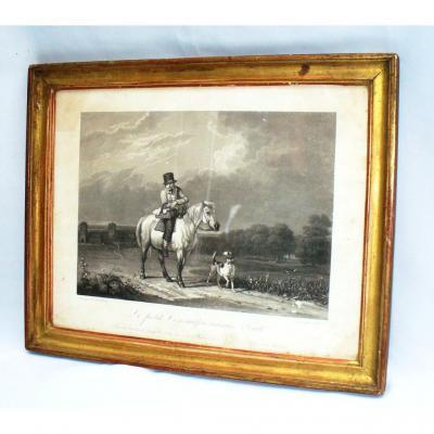 Gravure En Noire d'Epoque 1820 Jeune Garcon Sur Un Cheval , Scene Humoristique , Cadre Dore XIX