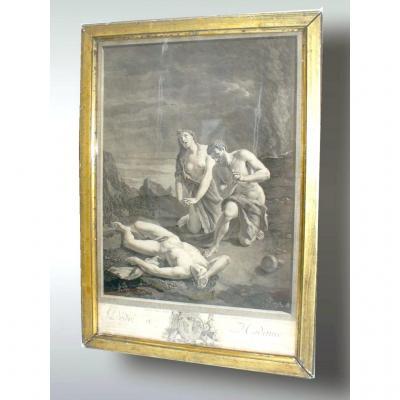 Gravure En Noir d'époque XVIIIe , Scene Mythologique, Dedicacée à Madame De Lamballe