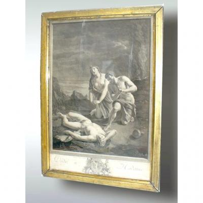 Engraving Of Black Eighteenth Time, Mythological Scene, Dedicated To Madame De Lamballe
