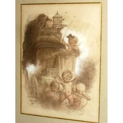 Humorous Engraving By Charles Leandre, Epoque 1906, Char & Putti
