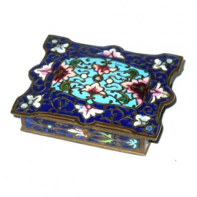 Boite A Timbres En Bronze Cloisonne Style Orientalisant Epoque 1880 XIXe France timbre