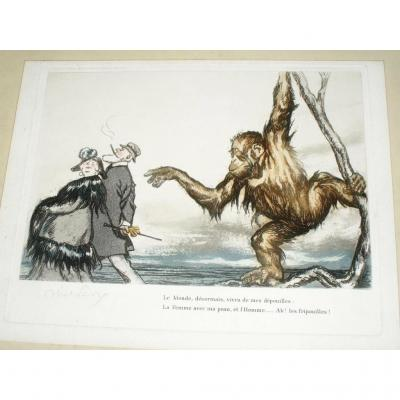 Humorous Original Lithograph, Signed By Artist Abel Faivre, 1920