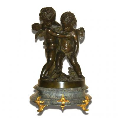 Grande Sculpture En Bronze , Paire d'Angelots / Amours Anges Signé Falconet , Socle Marbre XIXe