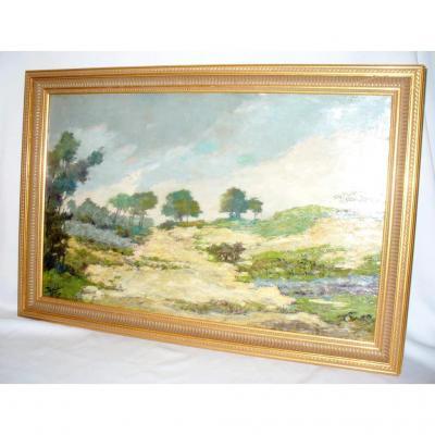 Huile Sur Toile Impressionniste , Paysage De Dunes Vers 1910 , Signé Del Rio , Encadrement
