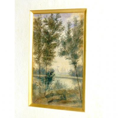 Watercolor Dating From The End Nineteenth Century Decor Lakeside / Bords De Riviere Signed Dated