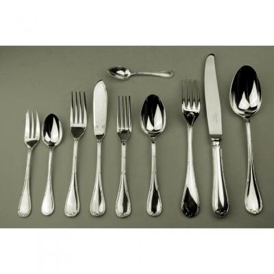 Christofle Silver Metal Cutlery In 49 Pieces Ribbon Crusaders Louis XVI