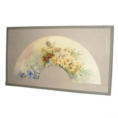 Fan Box Project, Watercolor Art Nouveau Era, Decor Flowers 1910