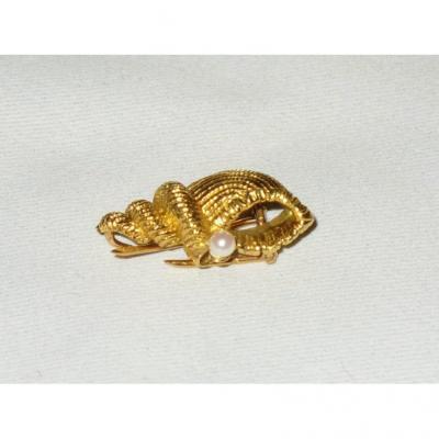 Broche En Or Et Perle , Décor Ce Coquillage / Conque , Epoque 1900