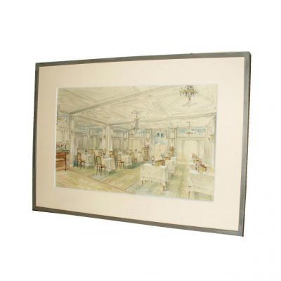 Projet d'Architecture De Décoration 1910 , Interieur De Restaurant , Aquarelle Encadrée .