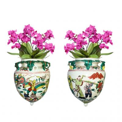 Pair Of Hanging On Earthenware, China Famille Verte, Jars Orchids Nineteenth