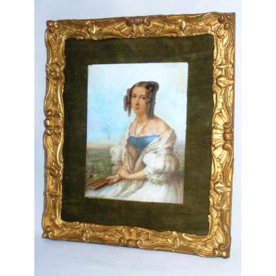 Grande Miniature , Gouache Potrait d'Elegante Vers 1835 Signée De Jean Baptiste Vanacker