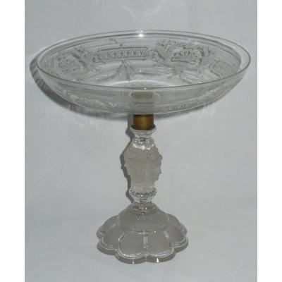 Grande Coupe Compotier En Cristal De Baccarat , Modèle Renaissance, XIXe , Masques Poli dépoli