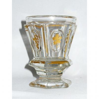 Verre / Gobelet à Violette En Cristal d'époque Charles X Epoque Restauration , Mini Vase XIXe