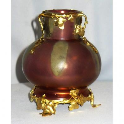 Vase En Faience Irisée Epoque Art Nouveau Monture Bronze Doré , Montieres , Rambervilliers XIXe