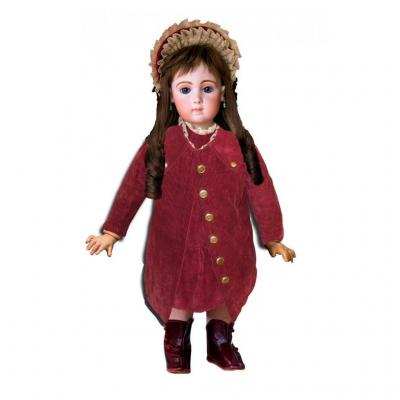 Girl Dress / Girl's Coat / Twin Doll Child XIXth Century Velvet Red