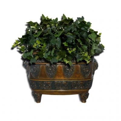 Jardiniere De Table En Bronze Patine , Decor Asiatique Chine , Epoque XIXe Siecle Chien De Fo