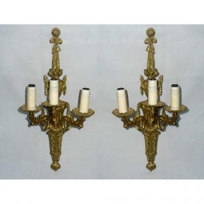 Pair Of Large Gilded Bronze Appliques, Louis XVI Style, 1900s Luminaire