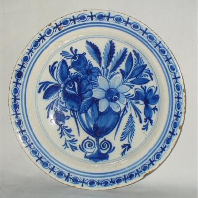 Delftware Dish Epoque Eighteenth Century Blue Camaieu / Bouquet Of Flowers