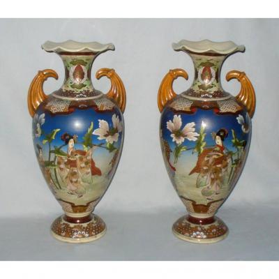 Paire De Vases En Porcelaine De Nankin / Satsuma , Asie XIXe , Geishas
