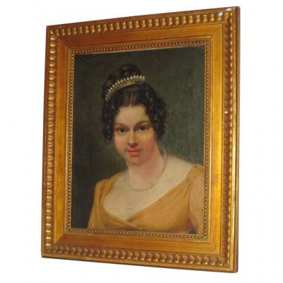 Portrait De Jeune Femme , Epoque Premier Empire , Huile Sur Toile , 1810 , Diademe / Peigne