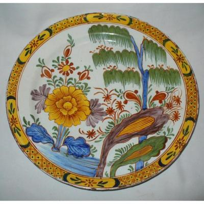 Large Dish In Delft Faience Decor Golden Polychrome Sinisant Chinese Style Eighteenth