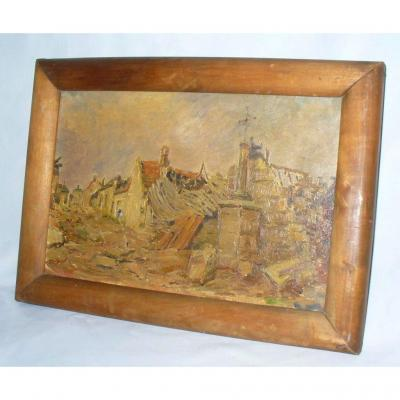 Oil On Canvas, Bombardment Scene, Early 20th Century, World War I, Ww1
