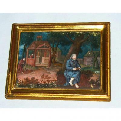 Peinture Religieuse , Gouache époque XVIIIe Siecle , Scène Monastique , Cadre Bois Doré
