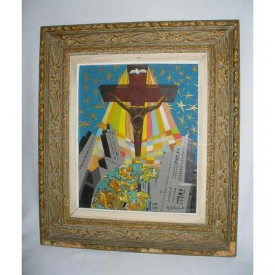 Huile Sur Toile , Scène De Crucifixion 1960 , Figuration Narrative / Pop Art Signe M Alferio
