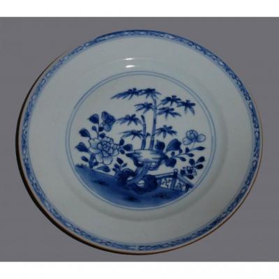 18th Century Plate; China Porcelain, Blue Camaieu, Asia Barrier Decor Bamboo