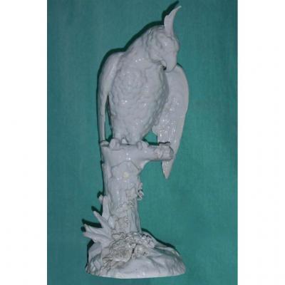 Grand Sujet En Porcelaine Blanche Allemande , Oiseau Cacatoès / Perroquet 1920