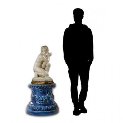 Socle De Sculpture / Vase En Faience Majolique Bleu Style XVIIIe Siecle Barbotine Piedestal XIX