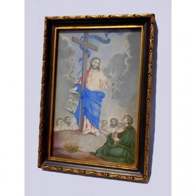 Peinture Religieuse , Gouache XVIIIe Siecle , Jésus Christ , Saint Mathieu