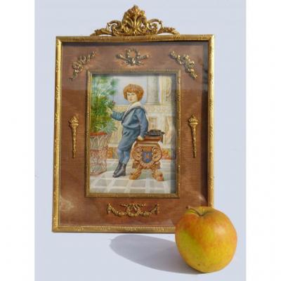 Grande Peinture Miniature Sur Ivoire Epoque 1890 Portrait De Jeune Comte Blason Cadre Louis XVI