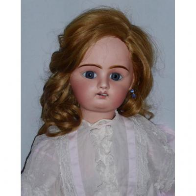 Large Denamur Doll Etienne, Porcelain Head, Bevel Cut, Mannequin Biscuit Toy 1900