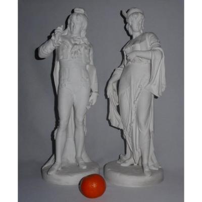 Paire De Sculptures En Biscuit , Incroyable & Merveilleuse XVIIIe Paul Duboy Sculpture XIXe