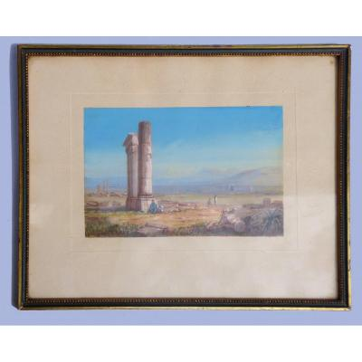 Orientalist Gouache, Signed From The Painter Ernst Huber, Ruins Of The East, Painting / Study