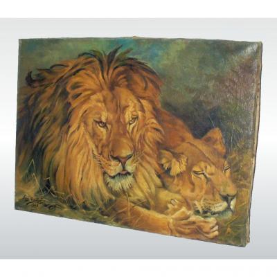 """Huile Sur Toile Sujet Animalier """"the British Lions"""" Signé & Daté Lion Fauve Géza Vastagh 1928"""