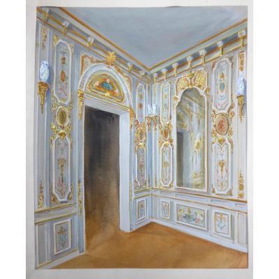 Projet De Décoration d'Interieur , Aquarelle 1930 Boiseries Style Louis XV XVIIIe